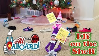 Purple & Pink Elf on the Shelf - All Aboard the Shoe Shoe Train! Day 10