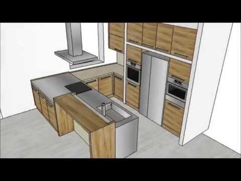Progetto cucina in legno rovere antico sketchup youtube for Disegnare cucina 3d gratis
