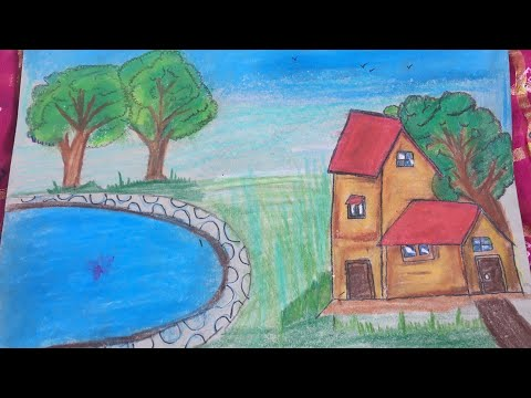 Oil pastels drawing landscape for beginners    easy for kids