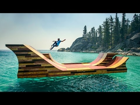 Bob Burnquist Skates Floating Half Pipe On Lake Tahoe