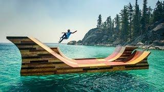 Bob Burnquist Skates Floating Half Pipe On Lake Tahoe
