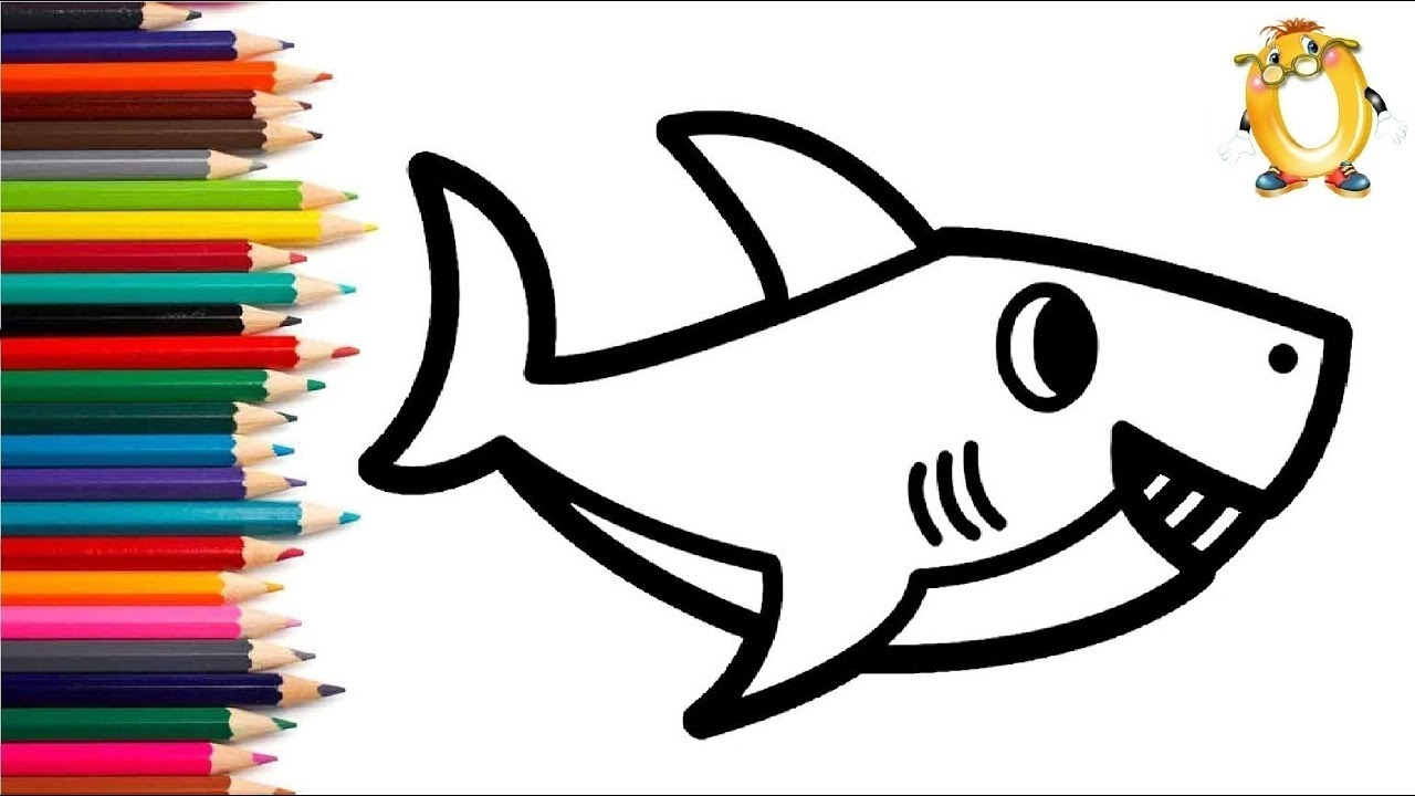 Раскраска для детей АКУЛА. Мультик - Раскраска. Учим цвета ...