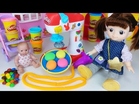 Baby doll and Play doh toys snack cooking play - 토이몽