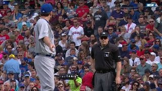 CHC@BOS: Lackey exhanges heated words with umpire