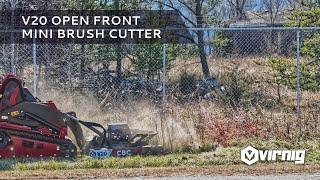 Video still for V20 Mini Skid Steer Open Front Rotary Brush Cutter