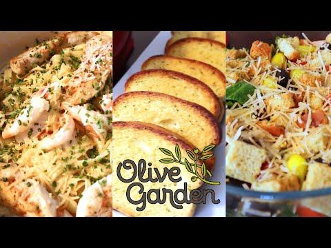 Pasta Alfredo con camarones y pollo | Ensalada | Estilo Olive Garden
