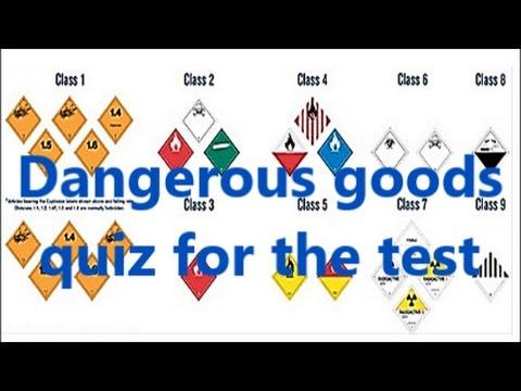 Dangerous goods class quiz for ADR Exam