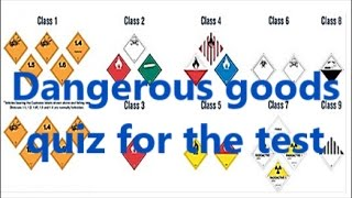 Dangerous goods class quiz for ADR Exam