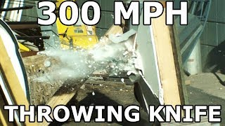 Will 300 mph Throwing Knives Go Through a Wall?  - Slow Motion Destruction - 12,500 fps