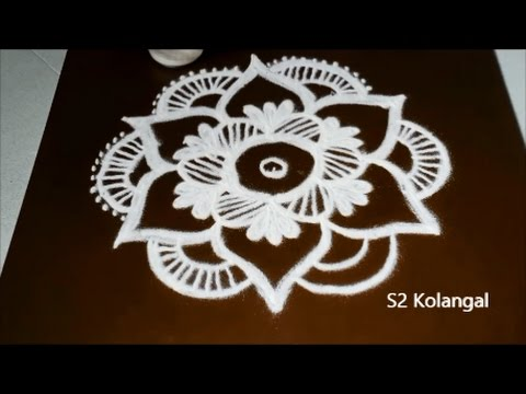 easy flower rangoli designs with 5 to 3 interlaced dots simple