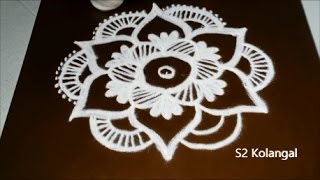 easy flower rangoli designs with 5 to 3 ...