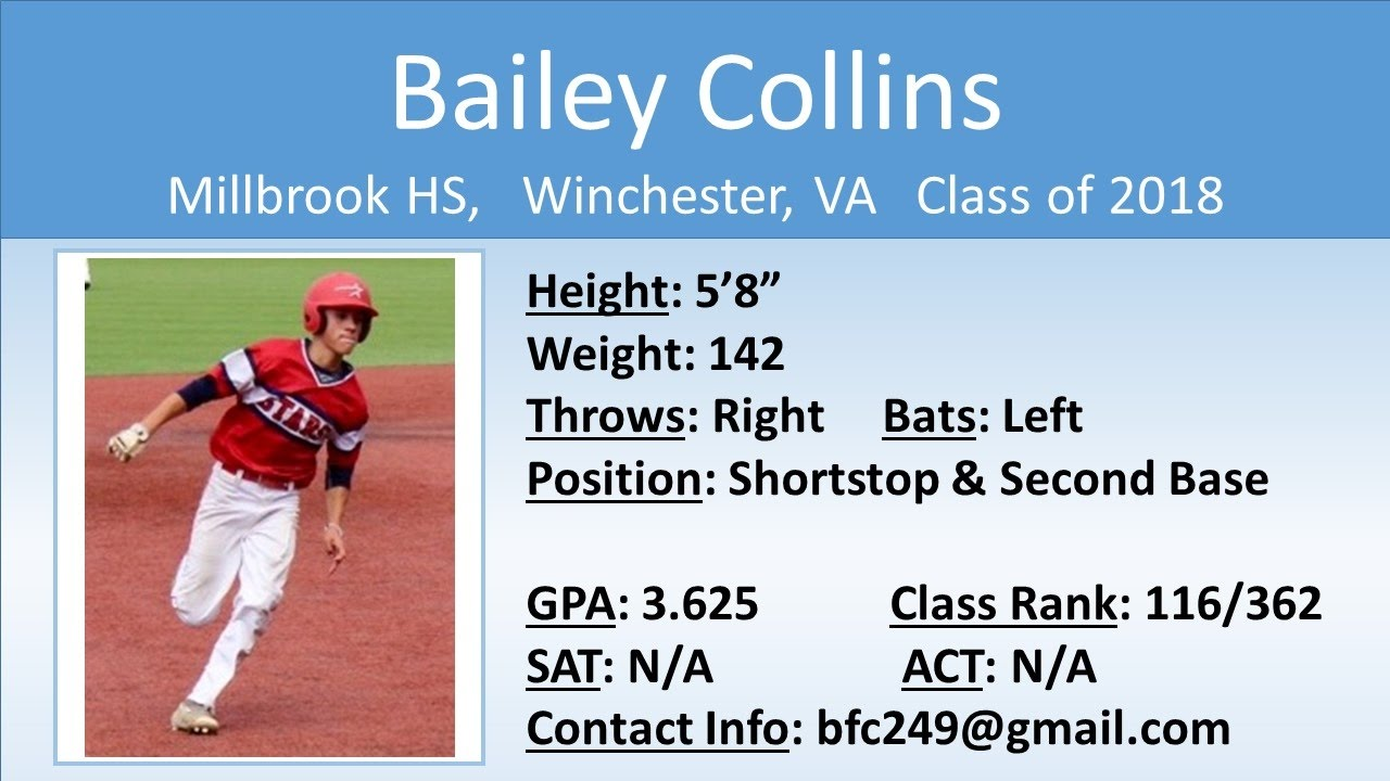 Bailey Collins - Class of 2018 - College Baseball Recruiting Video -  Shortstop/Second Base