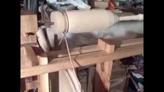 Joseph Moxon C17th Wood Lathe Treadle Wheel Rotation.