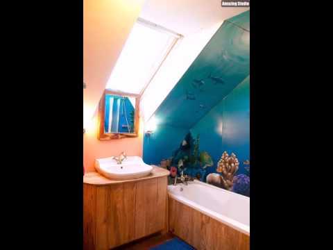 Wasserdichte Wandbild bringt Farbe in das kleine Badezimmer