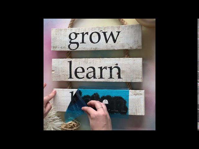 Grow Learn Listen - Motivational Rustic Whitewashed Reclaimed Wood DIY Craft Kit