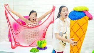 Tự Làm Bibabol Dưa Hấu bằng Slime - Trang Vlog