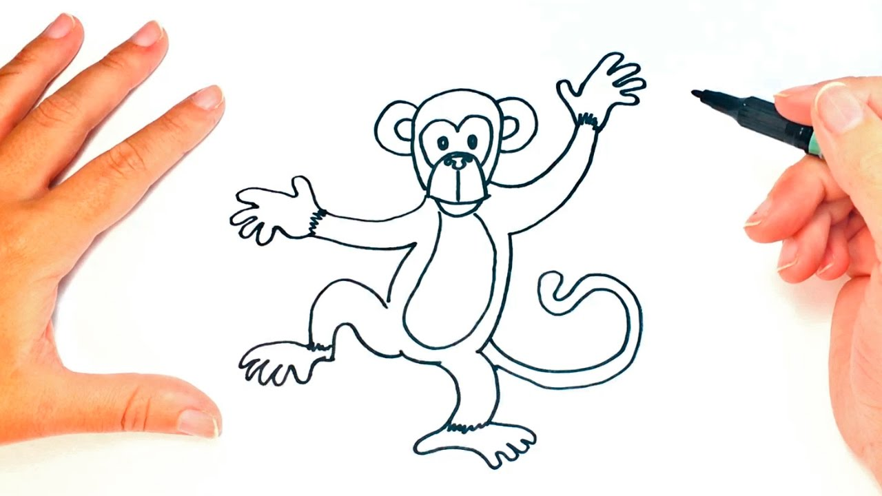 How To Draw A Monkey For Kids Monkey Drawing Lesson Step By Step Youtube