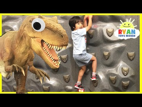 Thumbnail: Indoor playground for kids Family Fun Children Play! Giant T-Rex IRl with Pretend Food Play Grocery