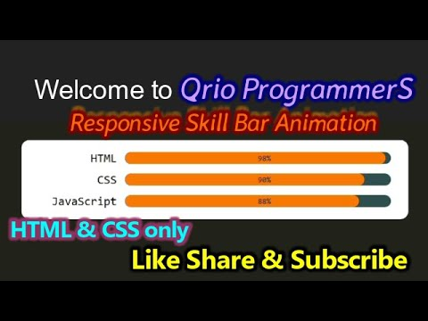 Responsive Skill Bar Animation Using HTML & CSS Only || Qrio ProgrammerS