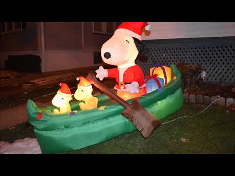 AIRBLOWN SNOOPY IN CANOE PEANUTS CHRISTMAS INFLATABLE