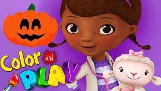 Doc McStuffins Halloween Color Play Decorate Carve Pumpkins 3D Coloring Disney Junior Kids App