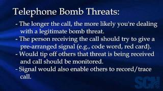 Procecures for Handling a Telephone Bomb Threat
