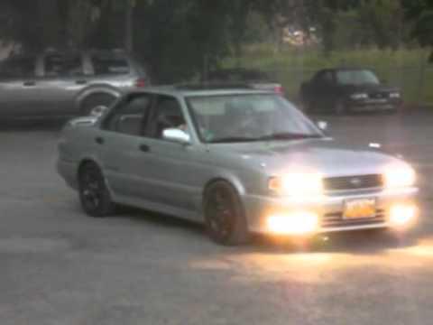 Nissan B13 AWD Burnout AGAIN !!! - YouTube