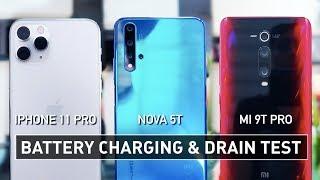 iPhone 11 Pro / Nova 5T / Mi 9T Pro BATTERY CHARGING & DRAIN TEST