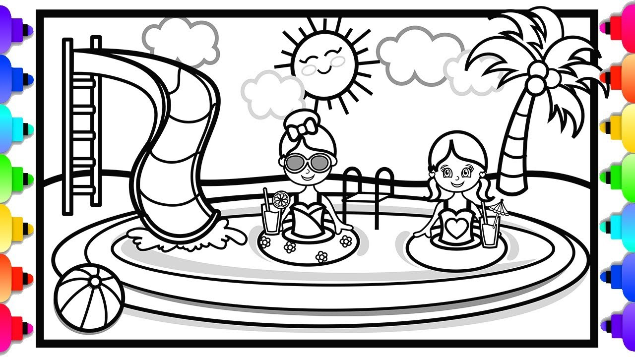 swimming kids coloring pages - photo#16