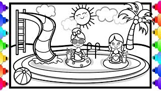 How to Draw a Swimming Pool for Kids 🌈💜Pool Party🌴🌊😊 Swimming Pool Coloring Pages