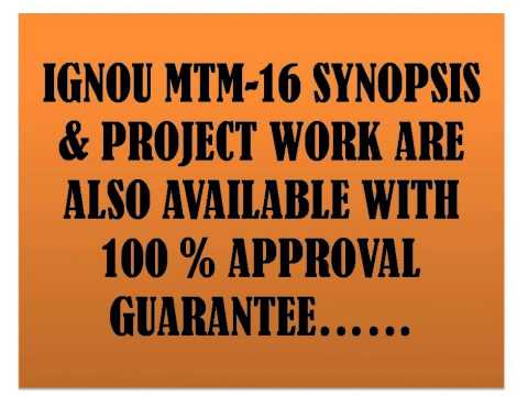IGNOU MTM STUDY NOTES & PROJECT WORK