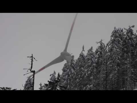 Highest Located German Wind Turbine in Storm