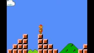 Super Mario Bros - Super Mario Bros jumping over the flagpole in 1-1 - User video