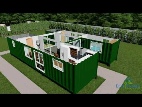 SCH15 2 x 40ft Custom Container Home with Breezeway 3D rende
