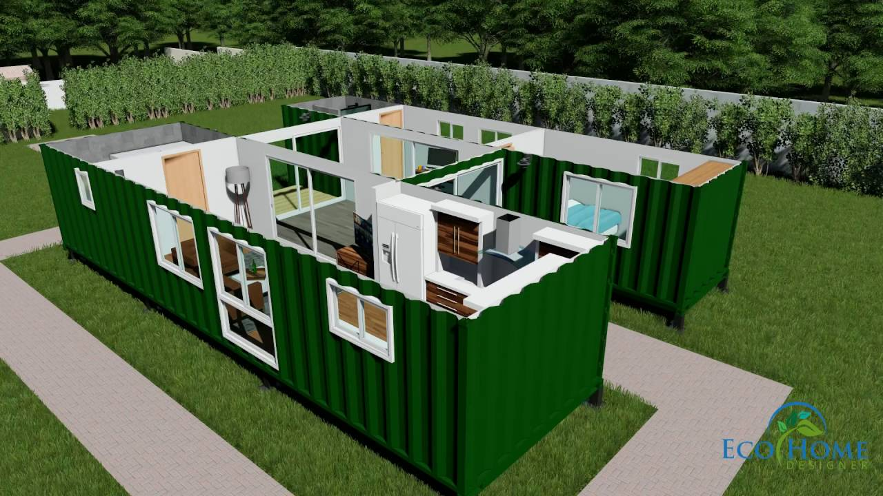 Sch15 2 x 40ft container home with breezeway 3d render for Home design 6 x 20