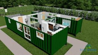 SCH15 2 x 40ft Custom Container Home with Breezeway 3D render video