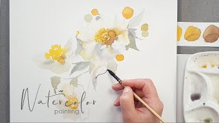 Watercolor Painting demonstration - the white Poppy Flowers on white paper