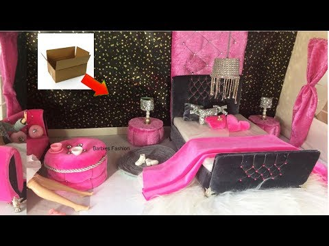 DIY Barbie 💋House with recycled items.Glamorous dolls house in 💋 rich pink and black shades