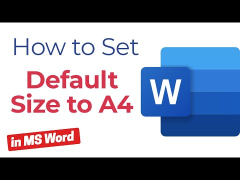 How to Set default size to A4 in MS Word