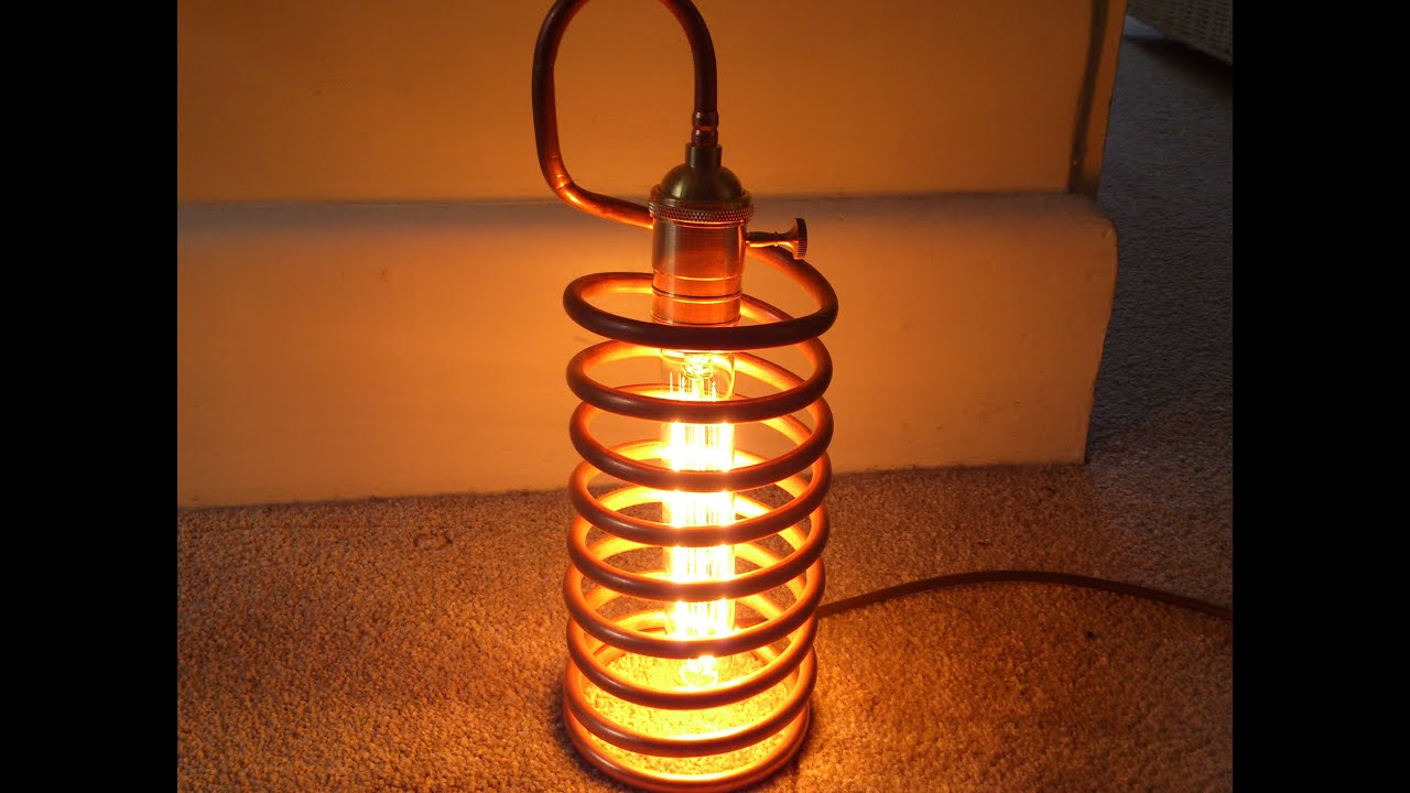 Handmade Copper Amp Brass Coil Lamp Antique Vintage Style