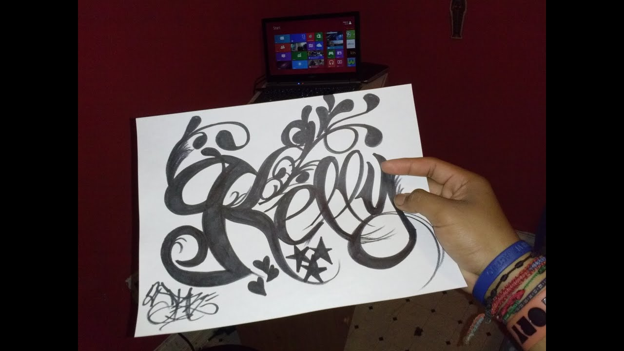 """Name Drawings: Drawing Tattoo Name Design """"Kelly"""""""