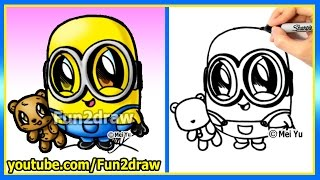 How to Draw a Minion - Bob and Teddy Bear - The Minions Movie - learn to draw easy cartoons Fun2draw