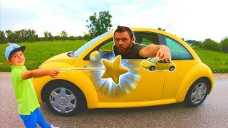 Pretend Play Magic with Cars | VW Bug Ride on & Driving in My Car Song