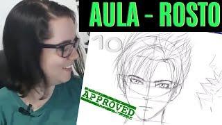 Aula Curso de Desenho: Como Desenhar/Esboçar Rosto de Frente (Anime)