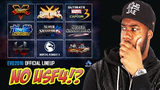 EVO2k16 Lineup! Pokken? NO USF4!? MY THOUGHTS!