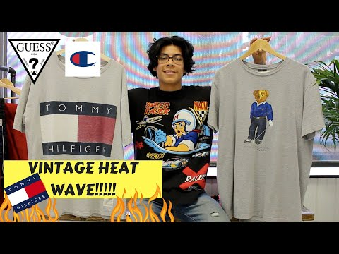 THRIFT HAUL   CRAZY TOMMY HILFIGER, POLO BEAR, VINTAGE RACING TEES, GUESS U.S.A and more!!
