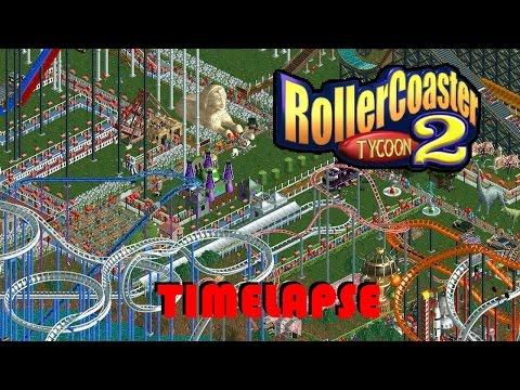 Rollercoaster Tycoon 2: HUGE Park Timelapse - 6,500 guests in 10 hours (8x Speed RCT2)