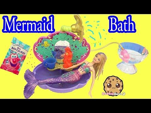 Mermaid Barbie Doll Bath Time in Disney Princess Ariel's Bathtub + Magic Bath Crackles