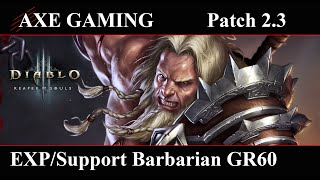 Diablo III: EXP/Support Barbarian GR60 (Patch 2.3)