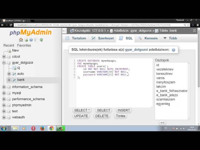MySQL adatbázis kezelés 29 - Tábla létrehozása kicsit igényesebb módon